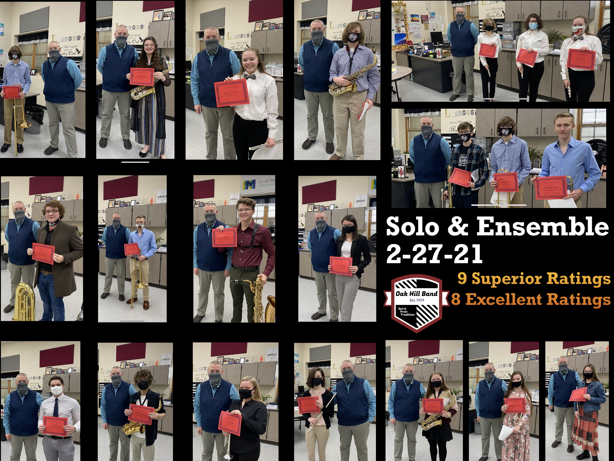Photos of band members after solo and ensemble